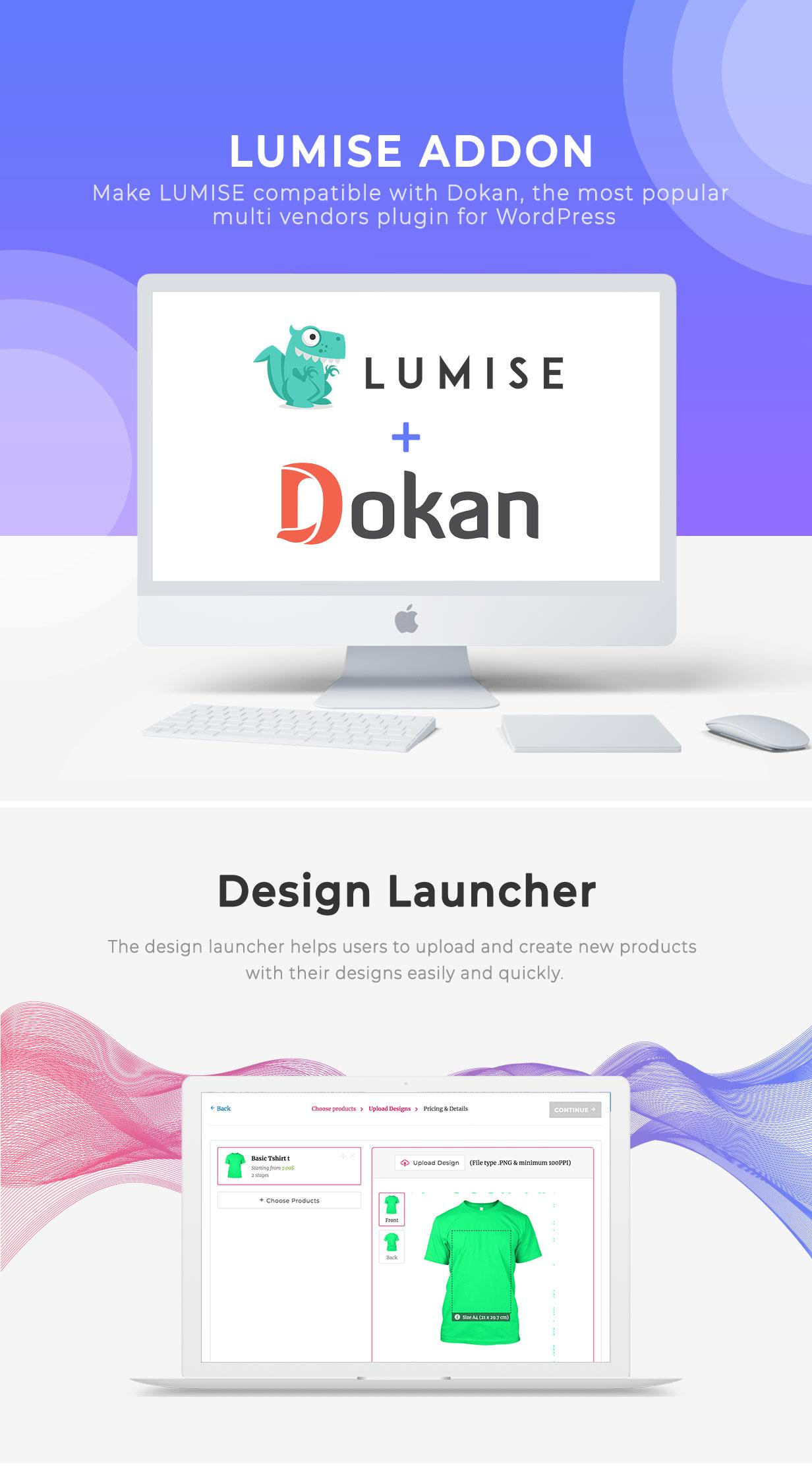 Vendors & Design Launcher Addon for LUMISE Product Designer - 1
